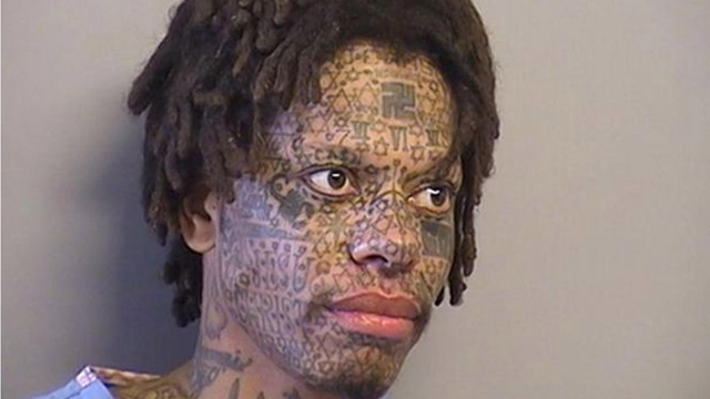 Crazy face-tattoo guy causes more of a scene than usual