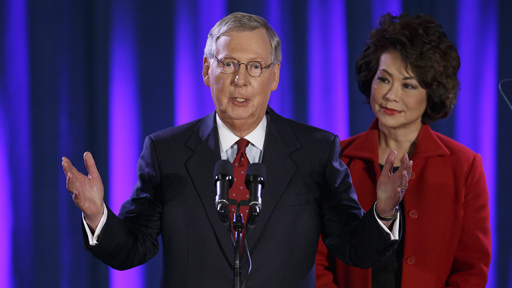 Westlake Legal Group McConell20Chao McConnell throws shade at Nike with 'Betsy Ross' flag tweet fox-news/politics/state-and-local/controversies fox-news/person/mitch-mcconnell fox-news/person/colin-kaepernick fox news fnc/politics fnc article Andrew O'Reilly 26f0f2d6-5386-5eae-979b-9e9f8172d026