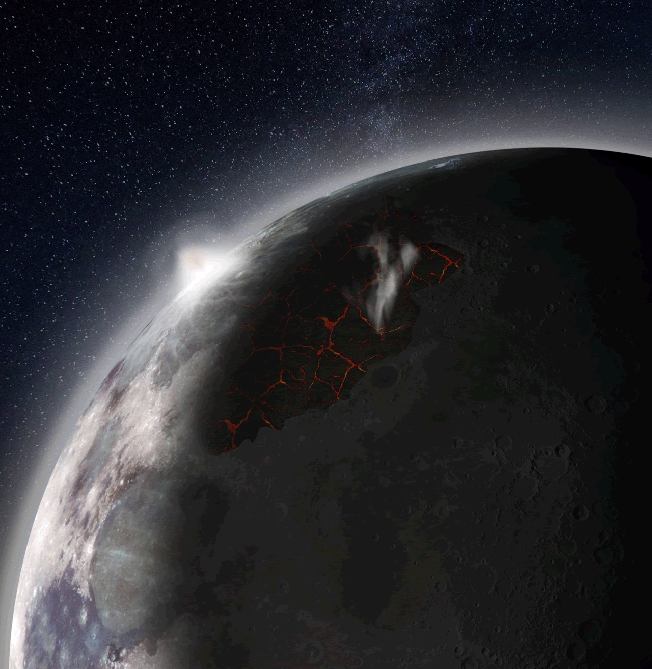 Volcanic eruptions gave the ancient moon a temporary atmosphere