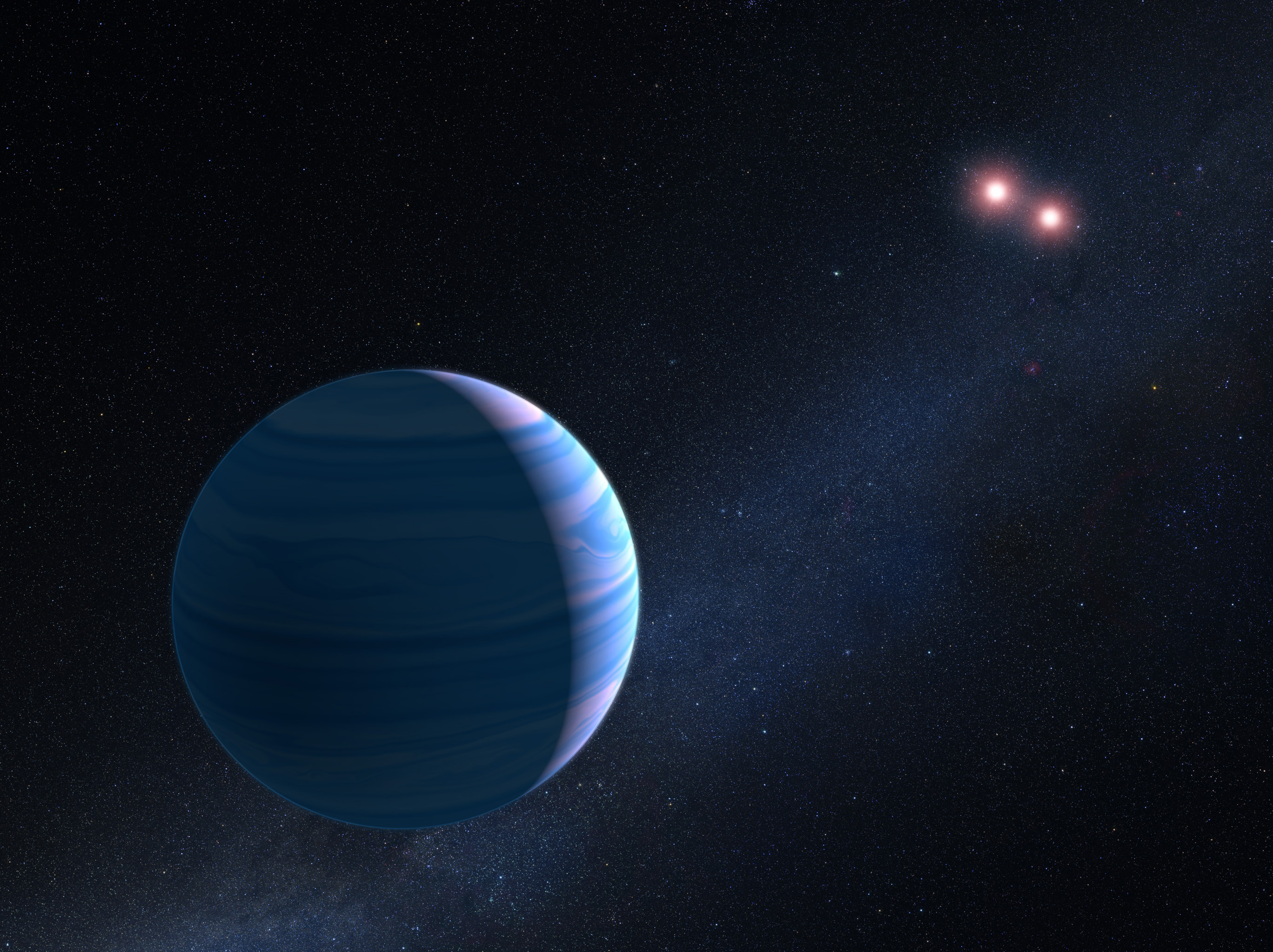 Scientists discover a large planet orbiting two stars