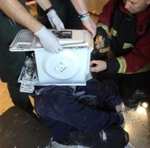 Firefighters slam YouTube prankster who 'cemented' a microwave oven to his head