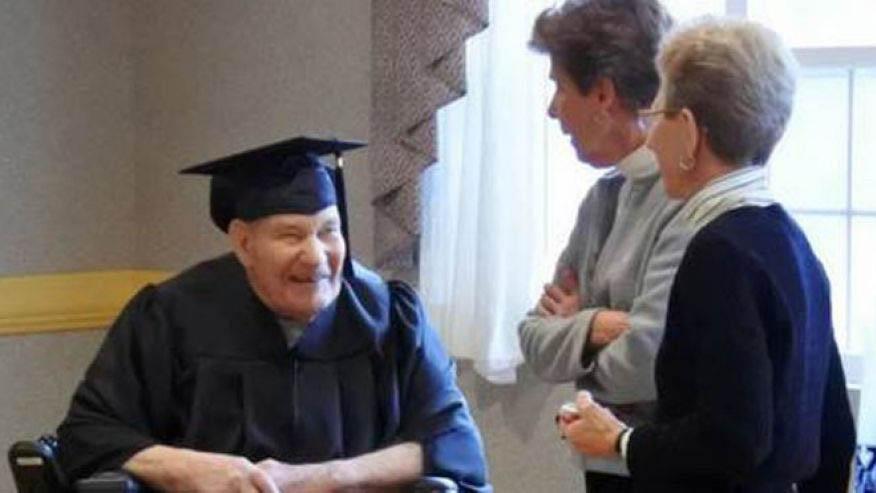 WWII Navy Seabee awarded high school diploma at 90