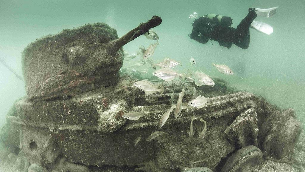 Stunning photos show sunken WWII British tanks that were the key to winning D-Day