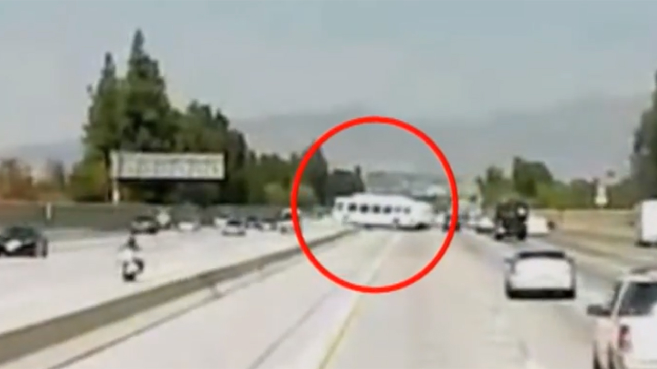 California bus crash injured 40, moment of impact seen in dashcam video