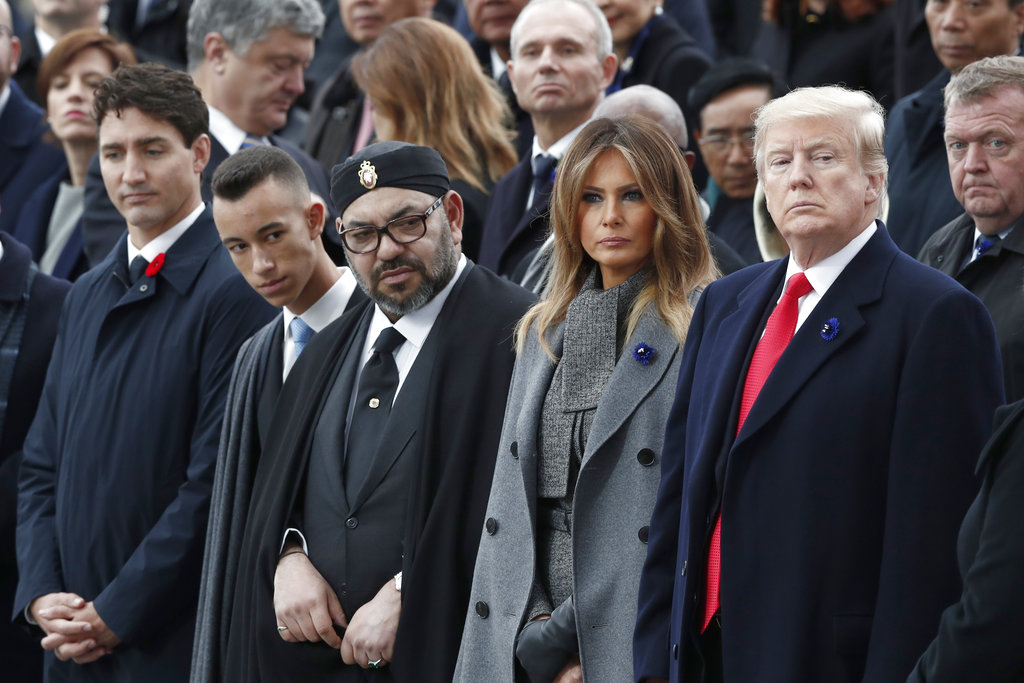 Trump stares at King of Morocco who appeared to be sleeping during WWI speech