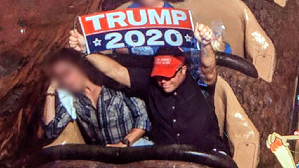 Man banned from Disney World after displaying Trump sign on Splash Mountain thumbnail