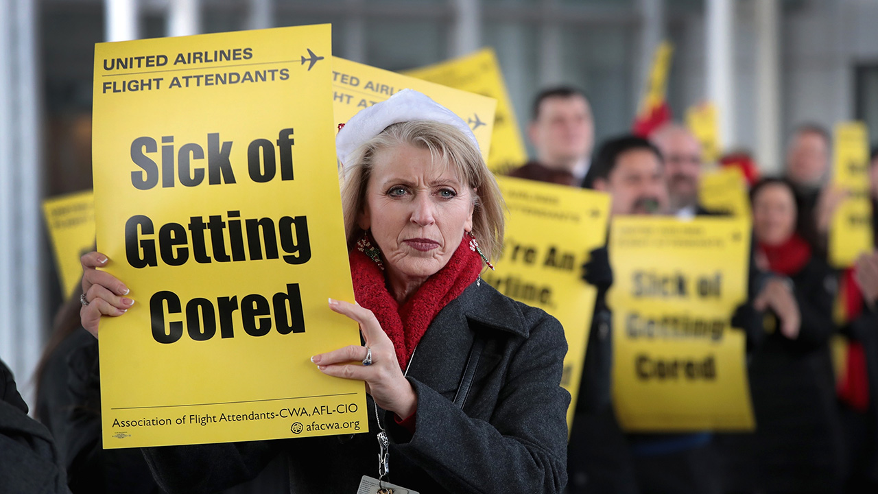 United Airlines staffers protest during international 'Day of Action'