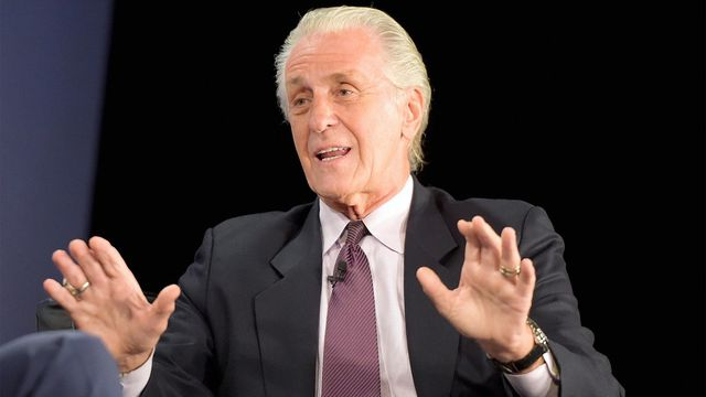Miami Heat executive Pat Riley sports dramatically different look as he dances with Dwyane Wade