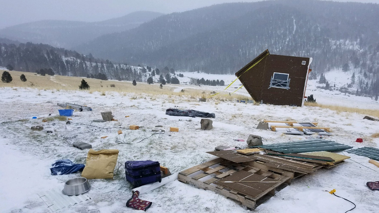 Blizzard winds topple tiny house in Colorado, send woman and two cats inside tumbling