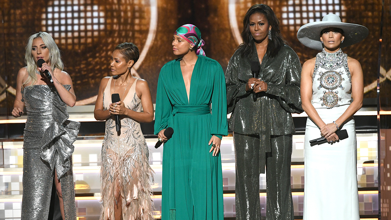 Grammy Awards: Michelle Obama makes surprise appearance, Dolly Parton medley brings the house down