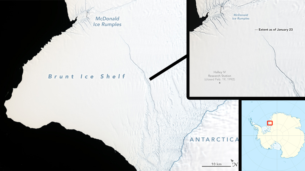 NASA concerned as iceberg twice the size of New York City is about to break off from Antarctica