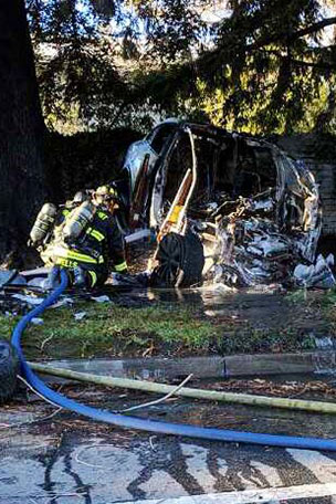 Fatigued Tesla employee survived fiery wreck with minor injuries, police said