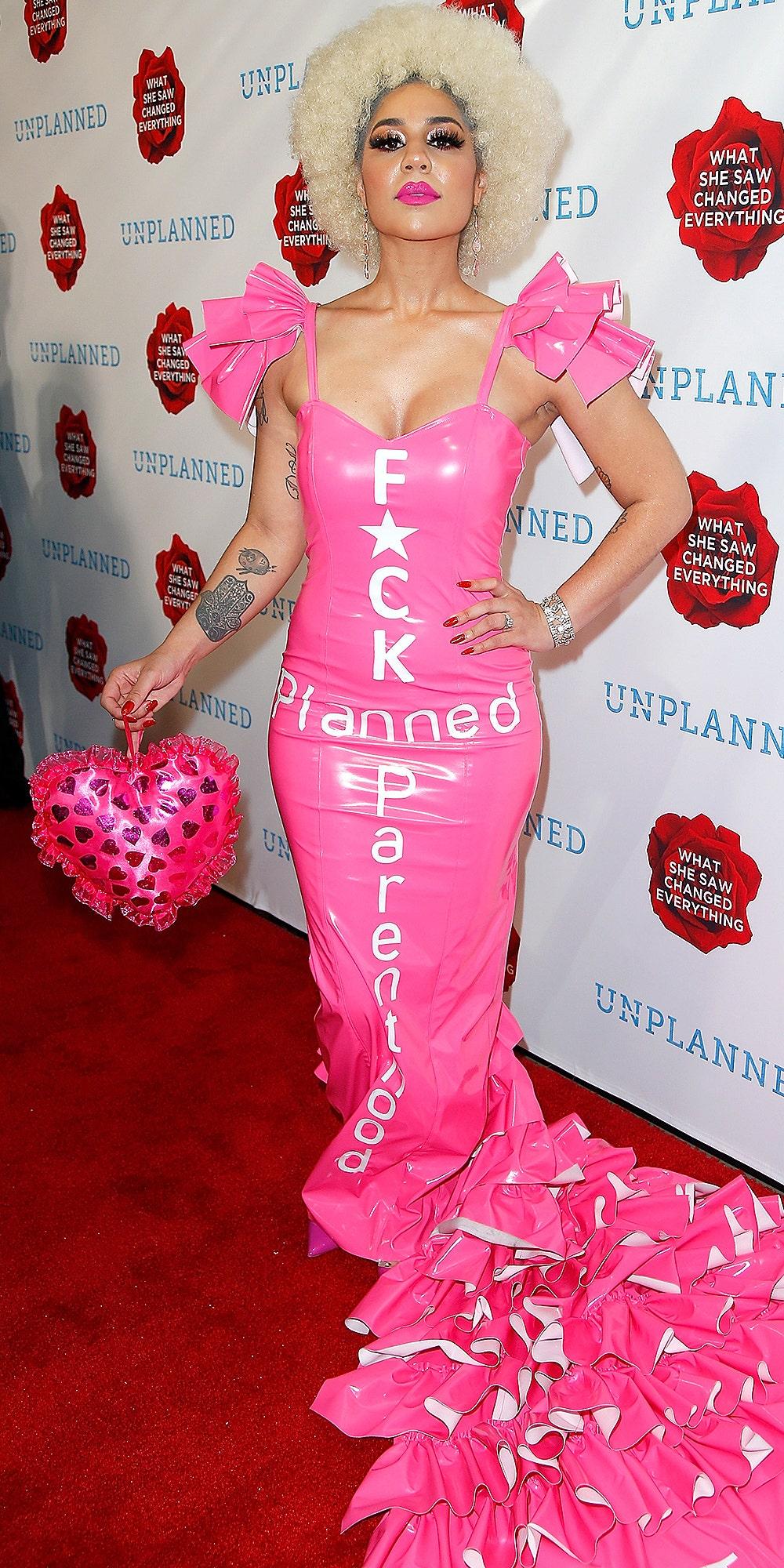 Joy Villa wears 'F—k Planned Parenthood' dress at anti-abortion film 'Unplanned' premiere