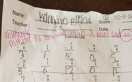 Online petition calls for teacher's firing over 'pathetic' comment on second-grader's worksheet
