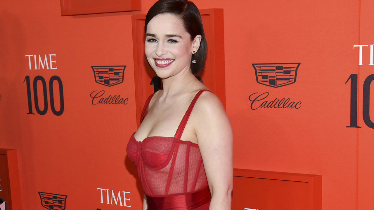 'Game of Thrones' star Emilia Clarke is fierce in red at Time's 100