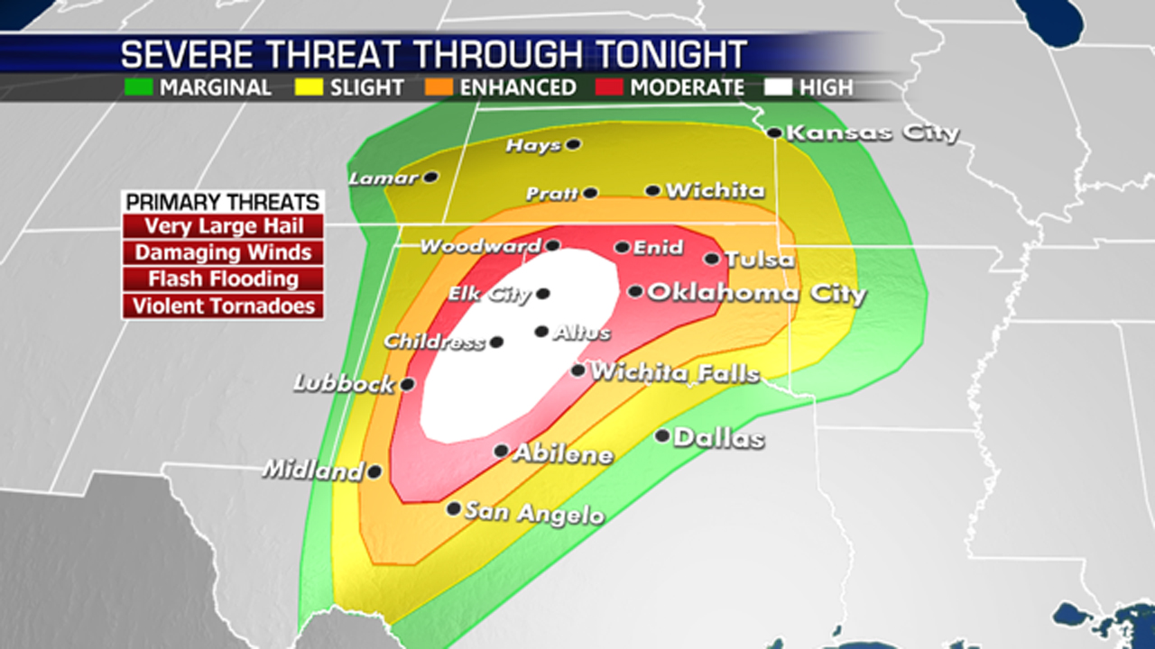 'Violent' tornado, severe thunderstorm outbreak expected in Texas, Oklahoma as schools shutter over risk