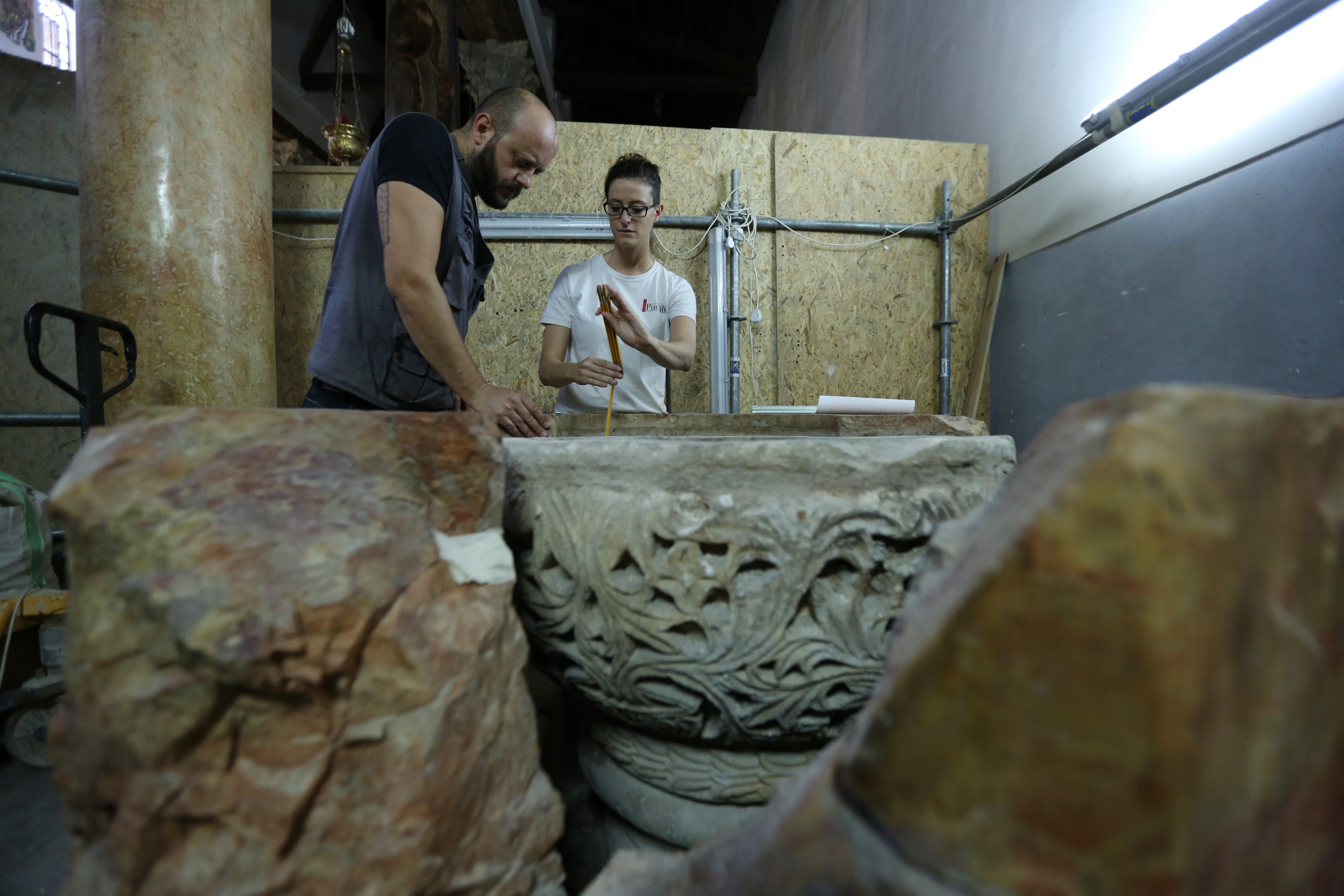 'Magnificent' baptismal font discovered at Bethlehem's Church of the Nativity, Palestinian officials say