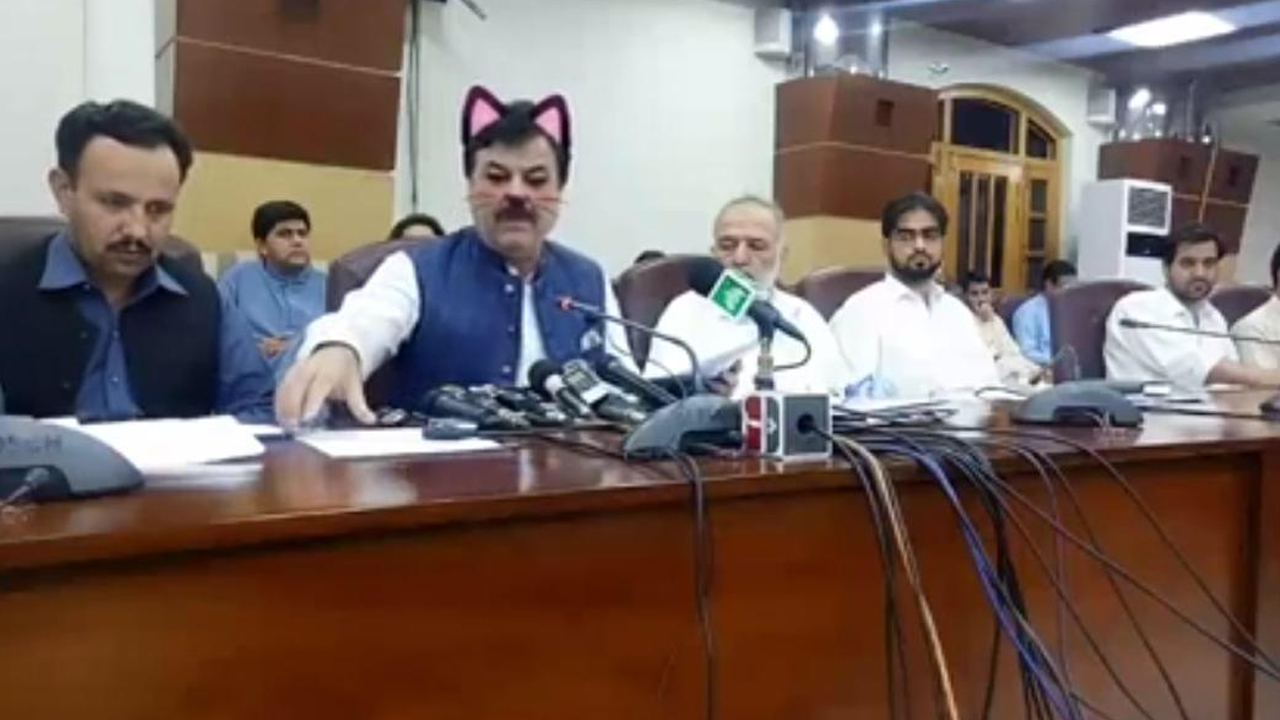 Westlake Legal Group cat-filter Pakistani politician dons Facebook 'cat' filter during press conference Nicole Darrah fox-news/world/world-regions/pakistan fox-news/world/world-regions/asia fox-news/tech/companies/facebook fox-news/tech fox-news/odd-news fox news fnc/world fnc article 2b25f4e1-3d64-5a8c-be30-7e6184999718