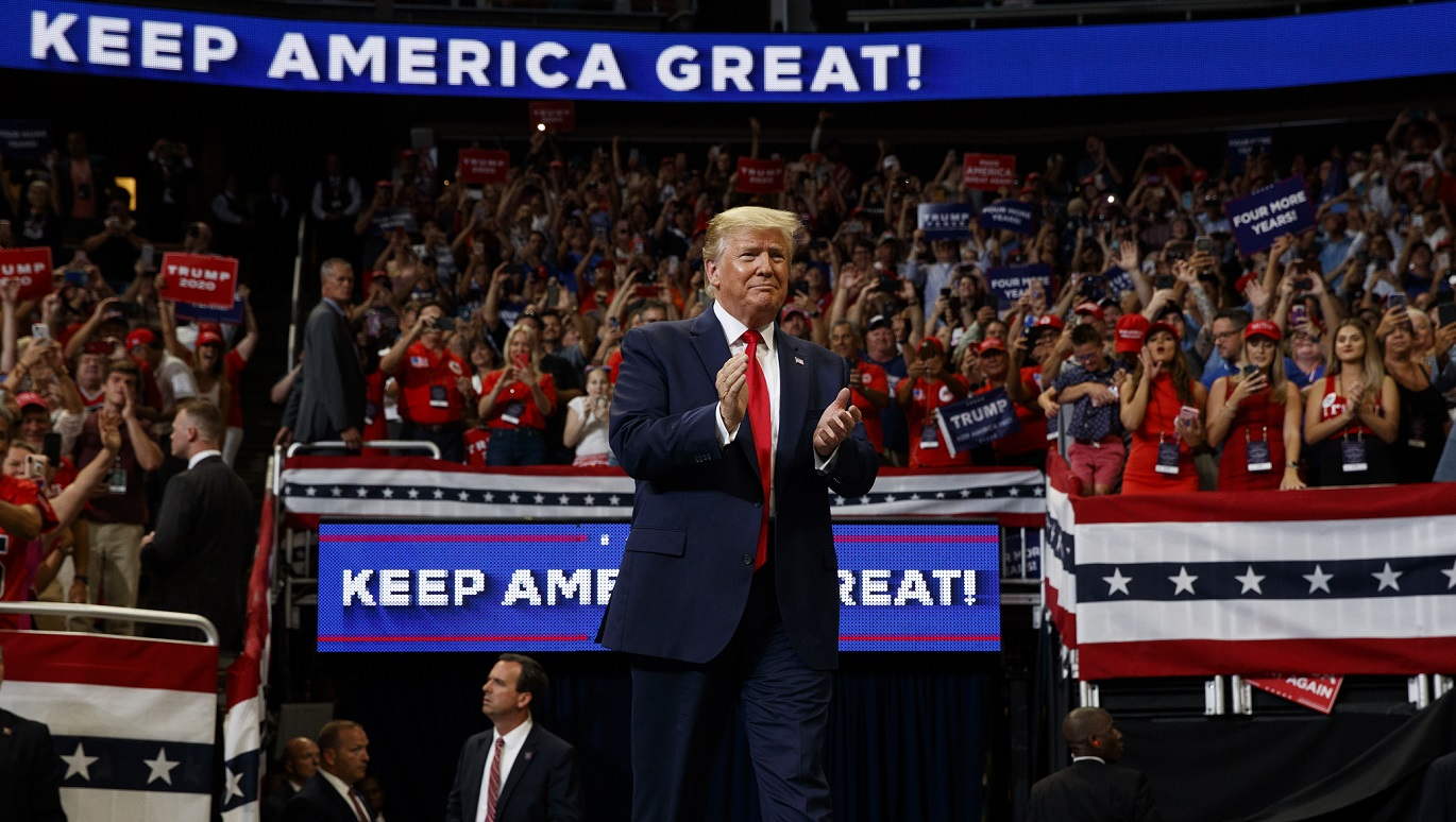 Trump launches re-election bid before jam-packed arena, vows to 'Keep America Great'