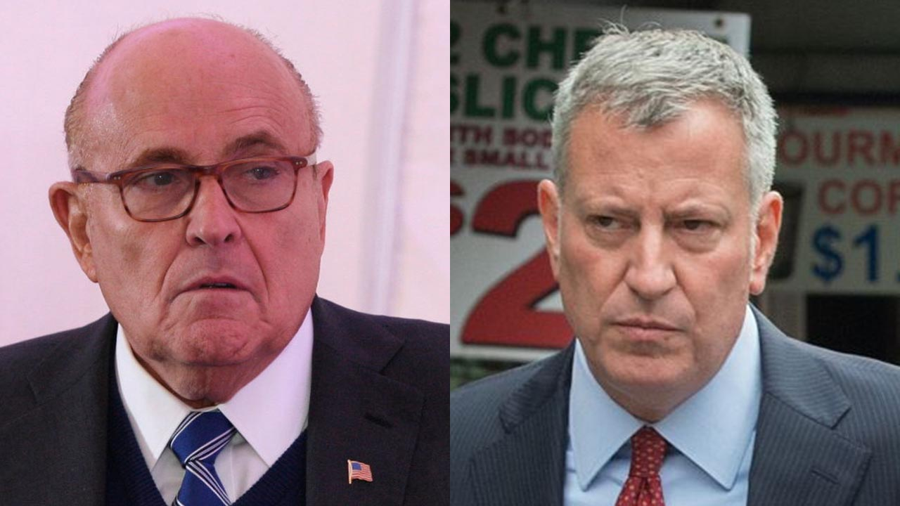 Westlake Legal Group Bill-de-Blasio-split Giuliani shreds de Blasio over videos of NYPD officers doused with water: 'He's a disgrace' Ronn Blitzer fox-news/us/crime/police-and-law-enforcement fox-news/media/fox-news-flash fox news fnc/politics fnc article 89da83b0-bd3a-5229-a652-53cfe5cc4c02