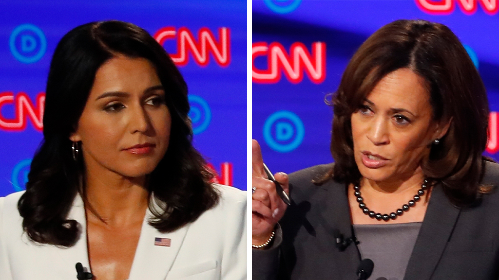 Westlake Legal Group Gabbard-Harris_AP Harris mocks Gabbard attack on her AG record, calls herself 'top tier' while rival at 'zero or 1 percent' Lukas Mikelionis fox-news/politics/elections/presidential-debate fox-news/politics/2020-presidential-election fox-news/person/tulsi-gabbard fox-news/person/kamala-harris fox news fnc/politics fnc article 801ac075-10db-558a-b65d-3507498ffaf9