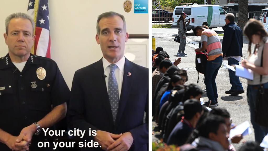 Westlake Legal Group Garcetti-immigration-Split_twitter-Getty LA Mayor Eric Garcetti releases video directed at illegal immigrants amid ICE raids: 'We are in this together' Nick Givas fox-news/us/us-regions/west/california fox-news/us/immigration/illegal-immigrants fox-news/us/immigration/enforcement fox-news/us/crime/police-and-law-enforcement fox-news/politics/state-and-local/issues fox-news/politics/state-and-local/controversies fox-news/politics/regulation/media fox-news/person/donald-trump fox news fnc/politics fnc article a7c2024e-2425-5c78-8383-a28af1a856fa