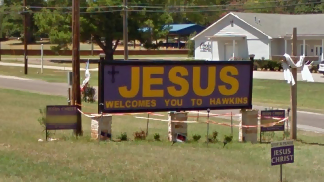 Texas city takes down church's 'Jesus Welcomes You to Hawkins' sign overnight