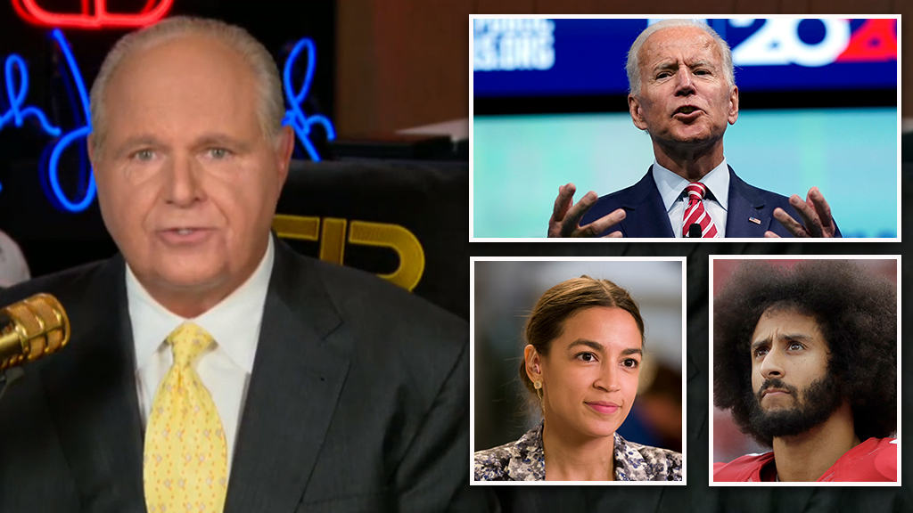 Westlake Legal Group Limbaugh-Biden-AOC-Kaepernick_FOX-AP Rush Limbaugh: 'The left is totally crazy,' Democratic Party will 'fall apart' if Biden nominated Victor Garcia fox-news/politics/2020-presidential-election fox-news/entertainment/media fox news fnc/politics fnc article 5b9fcc8d-8d3a-5c06-96cc-c7cce5c2af2e