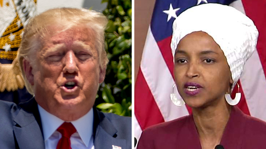 Westlake Legal Group Trump-Omar_AP-FOX Dems circle wagons around the 'squad,' as Omar responds to 'send her back' chant Gregg Re fox-news/politics/elections/house-of-representatives fox-news/person/rashida-tlaib fox-news/person/ilhan-omar fox-news/person/donald-trump fox-news/person/alexandria-ocasio-cortez fox news fnc/politics fnc fac9955d-a554-56be-9fb5-02a732a6ce32 article