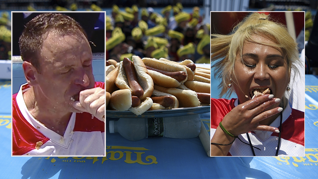Joey Chestnut, Miki Sudo clinch victory in Nathan's Hot Dog Eating Contest thumbnail