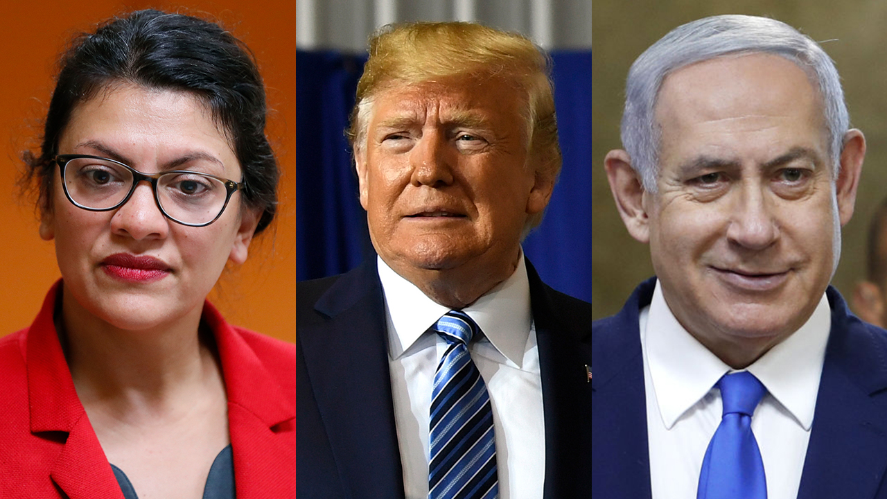 Westlake Legal Group Netanyahu-split Gutfeld: Rep. Rashida Tlaib's Israel 'stunt' used grandma as 'Trojan horse' fox-news/world/world-regions/israel fox-news/shows/the-five fox-news/politics/foreign-policy/middle-east fox-news/person/rashida-tlaib fox-news/person/ilhan-omar fox-news/person/donald-trump fox-news/person/benjamin-netanyahu fox-news/media/fox-news-flash fox-news/entertainment/media fox news fnc/media fnc Charles Creitz article 8759eabb-22d1-56df-af8e-da076ae2295b