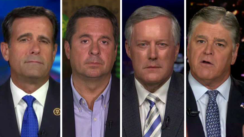 Westlake Legal Group Ratcliffe-Nunes-Meadows-Hannity_FOX Rep. Mark Meadows: Comey had a 'bad day' but Durham probe will be 'more damning' fox-news/tech/topics/fbi fox-news/shows/hannity fox-news/politics/justice-department fox-news/person/james-comey fox-news/media/fox-news-flash fox news fnc/media fnc Charles Creitz c976e825-a42a-5ff7-bdb8-f7c68c66f6be article