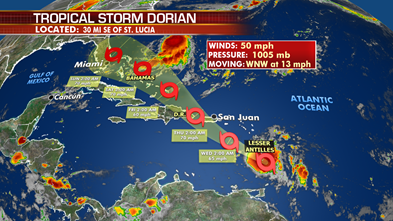 Dorian could become hurricane as it nears Puerto Rico, Dominican Republic