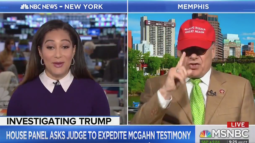 House Dem seems to stun MSNBC host by donning 'Making Russia Great Again' hat on air