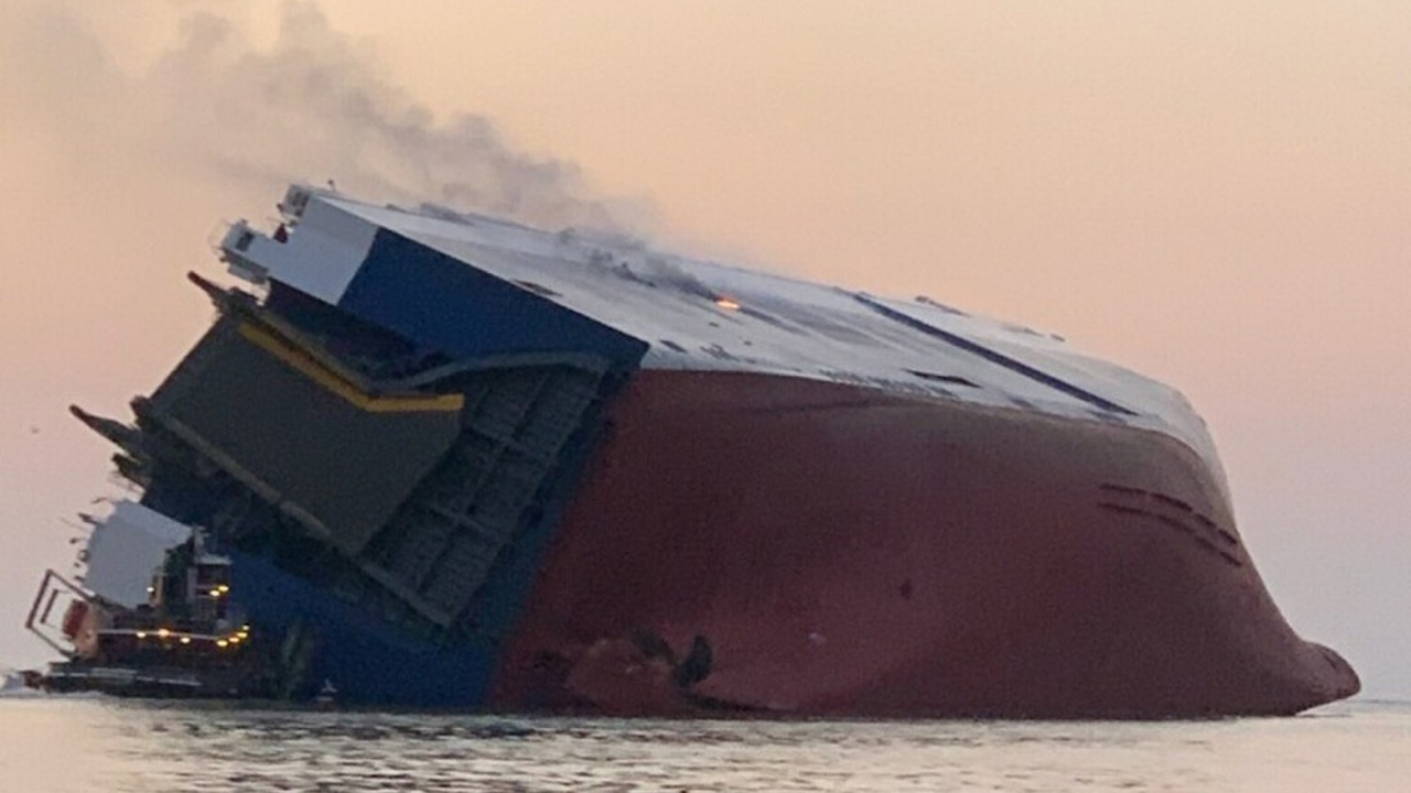 Cargo ship overturns near Georgia port, 4 crew members missing, Coast Guard says