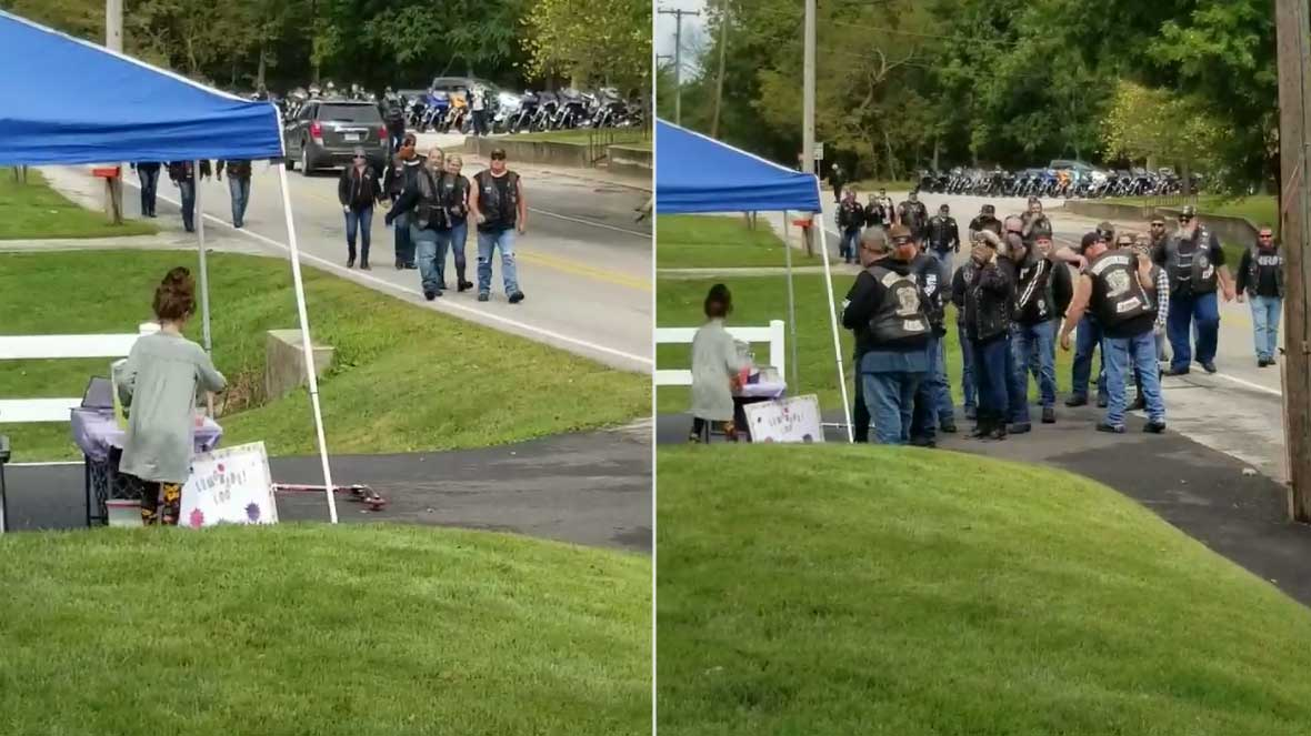 Bikers surprise Indiana girl running lemonade stand after mom assists during motorcycle accident