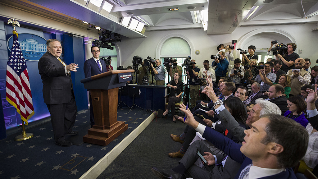 Westlake Legal Group Pompeo-press-briefing-2 Watch: Reporter caught making crude remark during Pompeo, Mnuchin media conference Sam Dorman fox-news/politics/executive/white-house fox-news/politics/executive/cabinet fox-news/media fox news fnc/media fnc e0fc3e60-eddb-515c-94f1-5eb116497d71 article