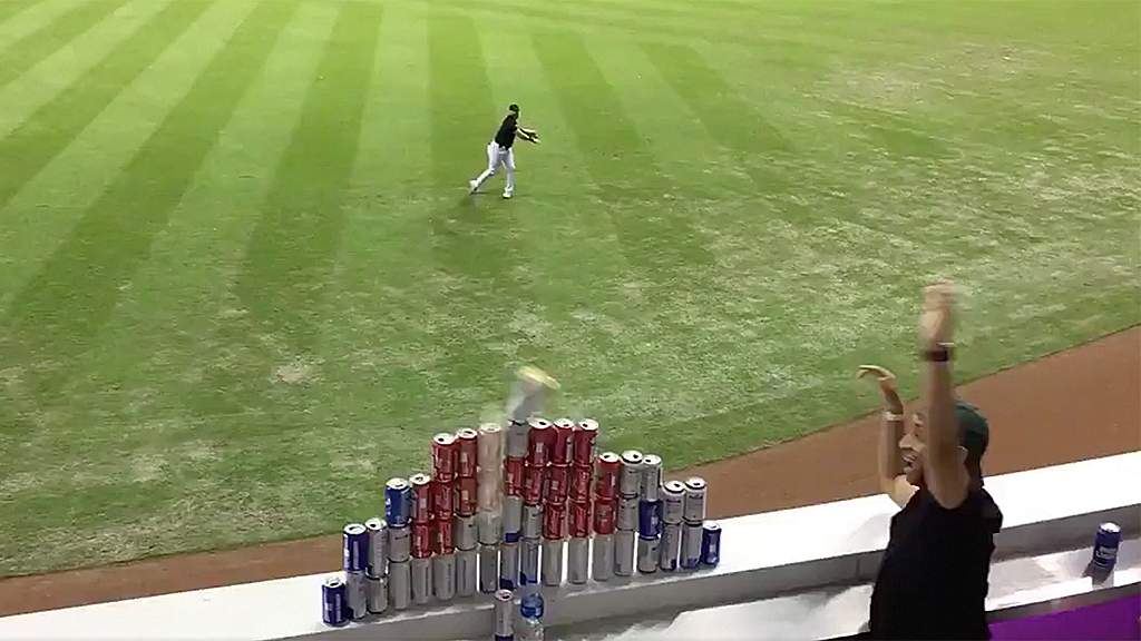 Westlake Legal Group beer-cans-2-Christian-Lovo Miami Marlins' Austin Dean shows off dead aim in delivering perfect throw at fans' beer can pyramid Robert Gearty fox-news/tech/topics/viral fox-news/sports/mlb/miami-marlins fox-news/sports/mlb fox news fnc/sports fnc article 27f4fc36-787e-5cf5-a191-5425e1a94e81