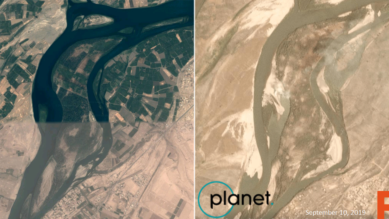 Satellite image shows 'ISIS-infested' island bombed by US reduced to smoking craters