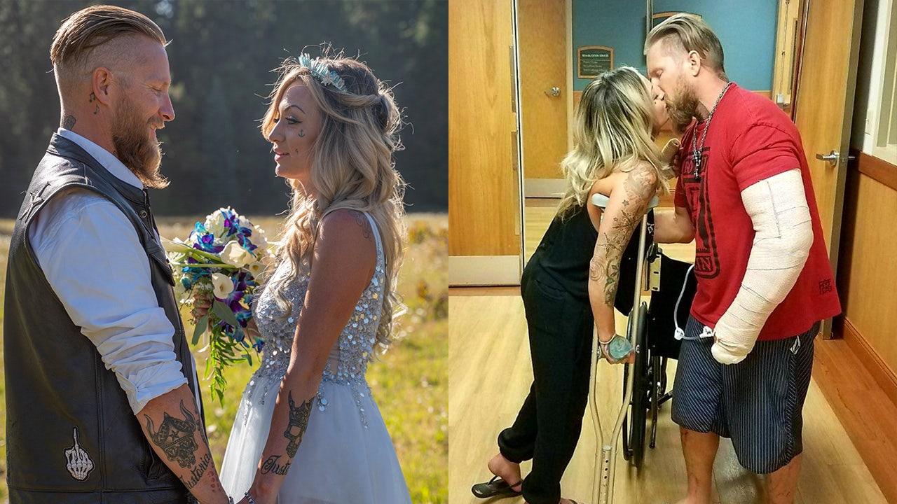 Biker ζευγάρι παντρεύεται μετά επιζών συντριβή μοτοσικλετών, υπόσχεται να είναι του άλλου