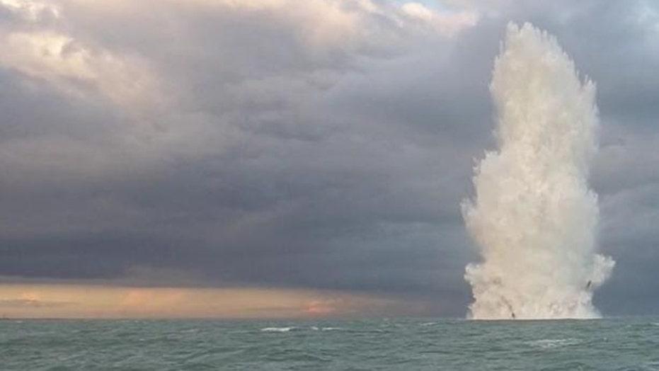 British Navy divers detonate German World War II bomb retrieved from 17th century shipwreck