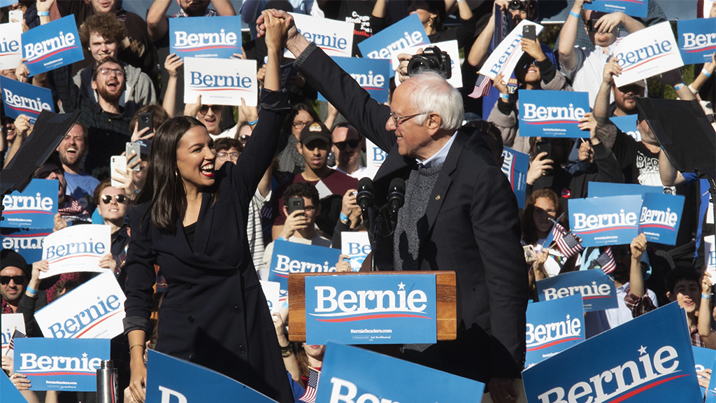 Westlake Legal Group AOC-Bernie AOC, Michael Moore pinch-hit at Iowa rally with Bernie Sanders in DC for Trump's Senate impeachment trial Nick Givas fox-news/politics/house-of-representatives/democrats fox-news/politics/elections fox-news/politics/2020-presidential-election fox-news/person/bernie-sanders fox-news/person/alexandria-ocasio-cortez fox news fnc/politics fnc article abba47f5-288b-5a8b-87a0-6f175123bb51