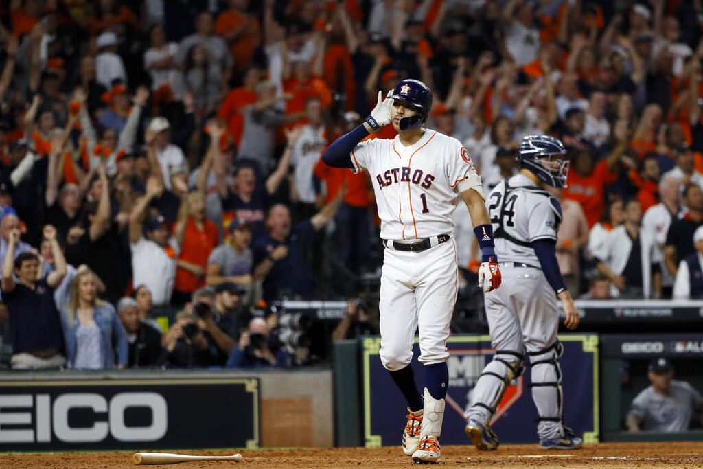 Westlake Legal Group AP19287195752043 Correa blasts home run in 11th to defeat Yankees 3-2; ALCS tied at 1 fox-news/sports/mlb/new-york-yankees fox-news/sports/mlb/houston-astros fox-news/sports/mlb-postseason fnc/sports fnc Associated Press article a05ee1b2-19d0-5140-b0e5-60ee0572e912