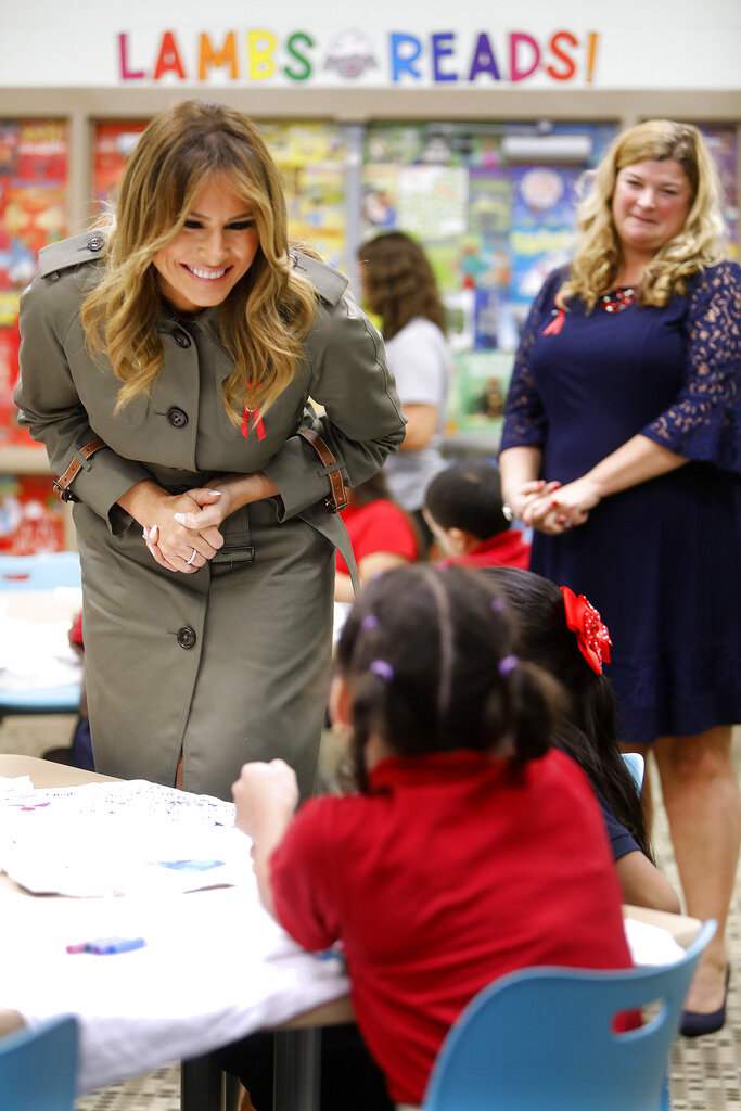 Melania Trump, Karen Pence visit elementary school students, military agencies to discuss emergency prep