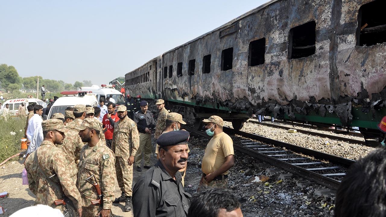Pakistan train fire sparked by gas stove explosion kills dozens - Fox News thumbnail