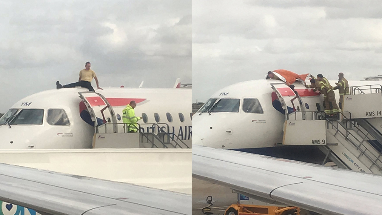 Climate change protester climbs on top of British Airways plane, forces flight delay