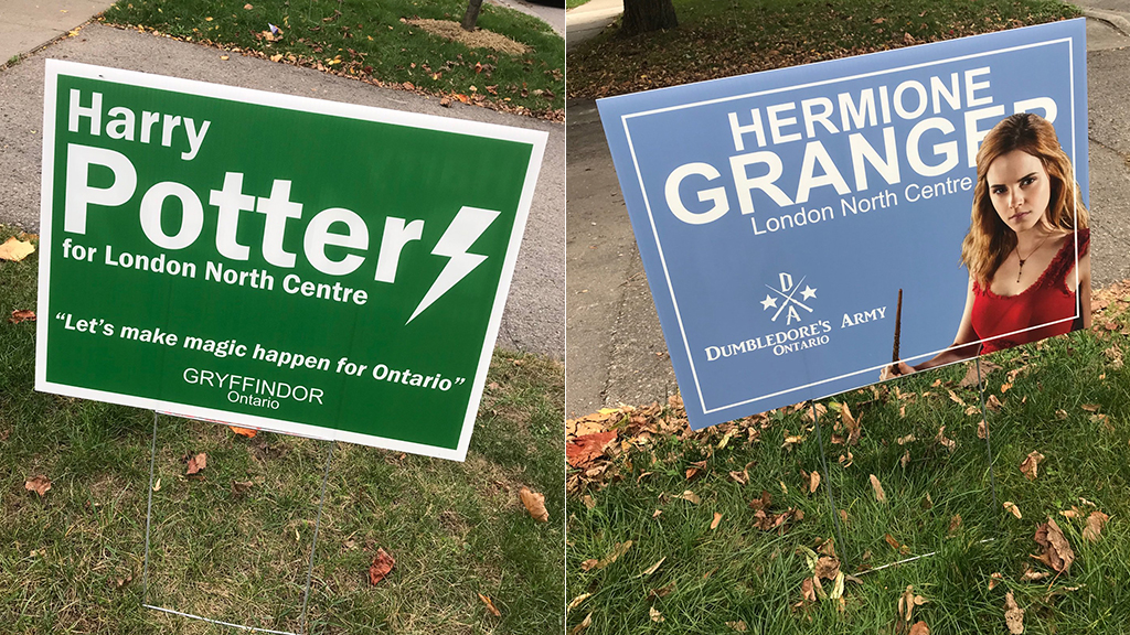 'Harry Potter' campaign signs pop up in Canada ahead of election: 'Let's make magic happen for Ontario'