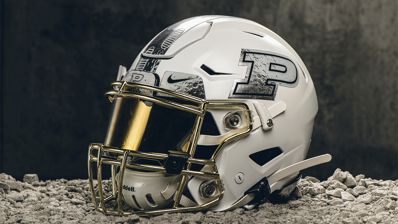 Purdue honors Apollo 11 with Moon-themed helmets for homecoming game