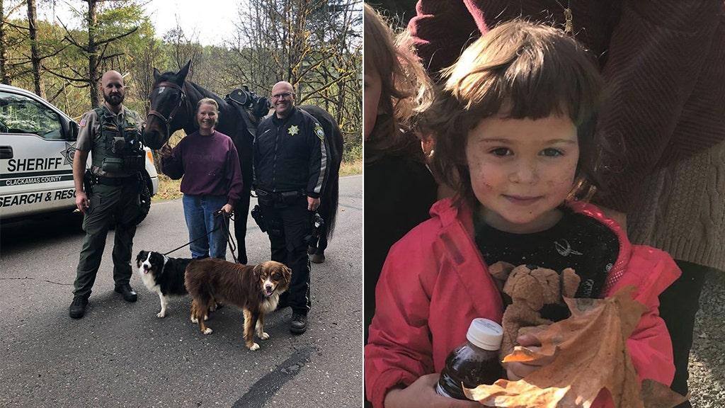 幼児の失われたオレゴン州の大自然見つかり安全による女性に馬に乗った人の犬を