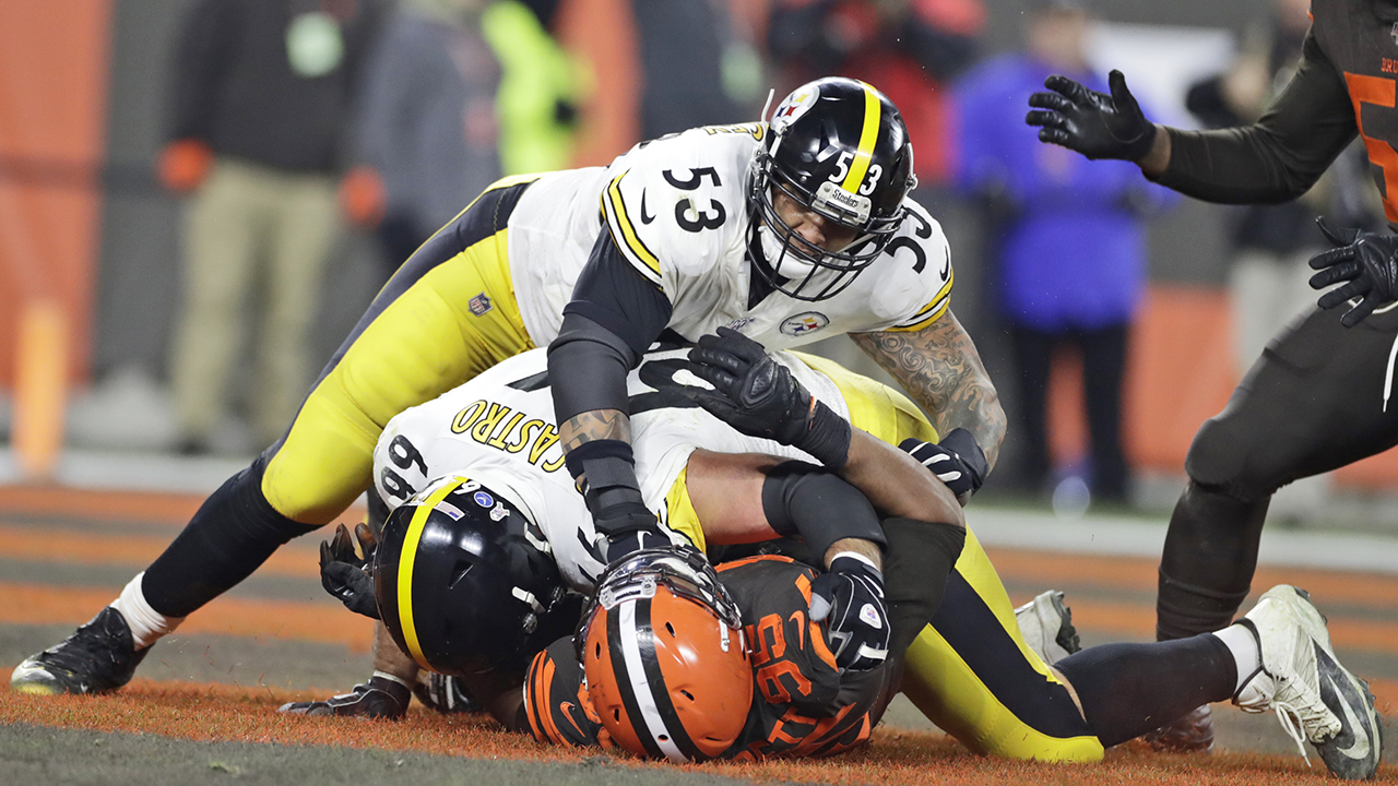 Steelers Spieler ankommen, erwartet Browns Rückkampf tragen
